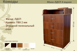 Детский комод МИНИ ЛДСП 4 ящика - Мебельная фабрика «AvtoBaby»