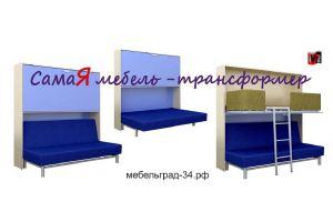 Диван-кровать с верхним ярусом кровати Аделия  - Мебельная фабрика «МебельГрад (мебель трансформер)»