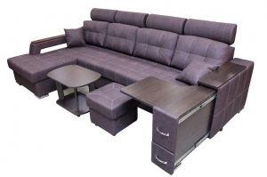 Диван Неаполь с оттоманкой, подголовниками и столом - Мебельная фабрика «FAVORIT COMPANY»