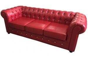 Диван трехместный красный Честер - Мебельная фабрика «Данко»