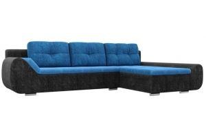 Диван угловой Анталина велюр голубой черный - Мебельная фабрика «Лига Диванов»