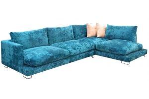 Диван угловой голубой стильный - Мебельная фабрика «Мебельный клуб»