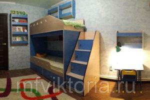 Двухэтажная кровать с полками - Мебельная фабрика «Виктория»