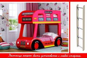 Двухъярусная кровать-Aвтобус London 3D с лестницей - Мебельная фабрика «Red River»