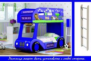 Двухъярусная кровать-Aвтобус  Мадагаскар 3D с лестницей - Мебельная фабрика «Red River»
