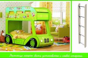 Двухъярусная кровать-Aвтобус Винни 3D с лестницей - Мебельная фабрика «Red River»