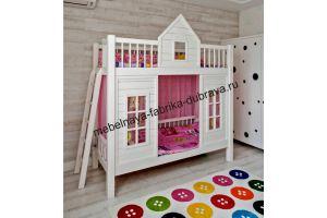 Двухъярусная кровать-домик из натурального дерева - Мебельная фабрика «Дубрава»