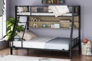 Двухъярусная кровать Гранада-1П черный ясень шимо светлый - Мебельная фабрика «Формула мебели»