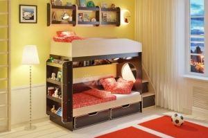 Двухъярусная кровать Легенда 10.3 с полками - Мебельная фабрика «Легенда»