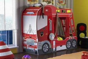 Двухъярусная кровать -Пожарная машина - Мебельная фабрика «Happy home»