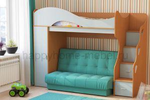 ДВУХЪЯРУСНАЯ КРОВАТЬ С ДИВАНОМ BAMBINI DIVANNO 28 - Мебельная фабрика «Happy home»