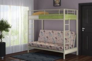 Двухъярусная кровать с диваном Мадлен Слоновая кость - Мебельная фабрика «Формула мебели»