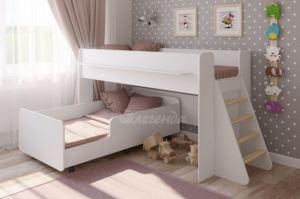 Двухъярусная кровать выкатная Легенда 23.3 белая - Мебельная фабрика «Легенда»