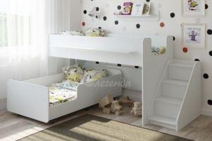 Двухъярусная кровать выкатная Легенда 23.4 белая - Мебельная фабрика «Легенда»