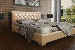 Двуспальная Кровать обитая кожей 246 - Мебельная фабрика «Корвет»