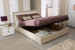 Двуспальная кровать с глянцевыми вставками As28.251M-hi - Мебельная фабрика «Астрон»