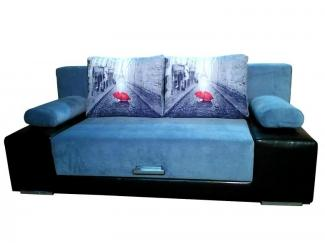 Голубой прямой диван с фотопринтом
