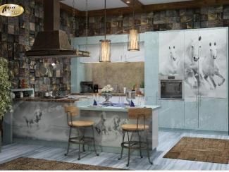Кухня прямая «Blue Глория» - Мебельная фабрика «Ладос-мебель»