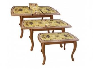 Стол  обеденный Альба инкрустация плитка - Мебельная фабрика «Древпром»