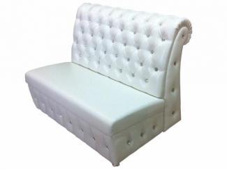 Белый диван с каретной стяжкой   - Мебельная фабрика «Гарни», г. Волгоград