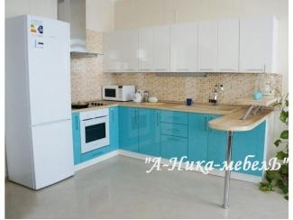 Небольшая голубая кухня с барной стойкой - Мебельная фабрика «А-Ника»