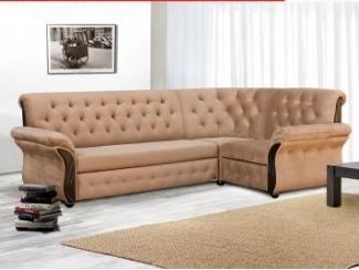 Светлый угловой диван с каретной стяжкой Лиза 23 Д - Мебельная фабрика «Лиза», г. Краснодар