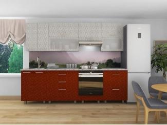 Кухня прямая Марта Белая роза Красная роза - Мебельная фабрика «Веста»