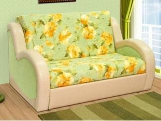 Зеленый диван с цветами Фаворит 2 - Мебельная фабрика «Данила мастер», г. Омск