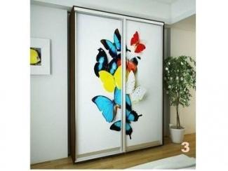 Светлый шкаф-купе с бабочками