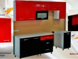 Кухня прямая 1,8 м Золушка красно-черная