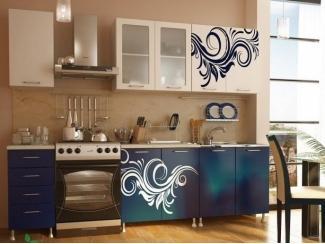 Прямая кухня Индиго с фотопечатью - Мебельная фабрика «Манго»