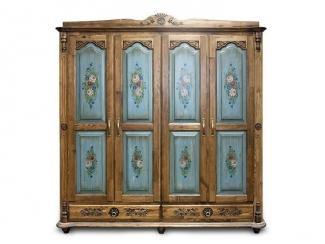 Шкаф четырехдверный из массива сосны с художественной росписью фасадов  - Мебельная фабрика «Грин Лайн»