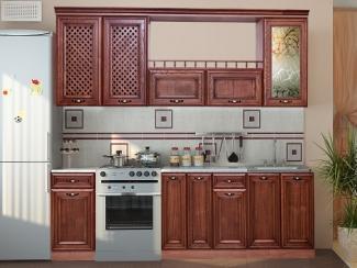 Кухня прямая с деревянными фасадами
