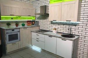 Кухня Фасад 22 мм Дуб шамони светлый + UV- лак белый скандинавский - Мебельная фабрика «Мебелькомплект»