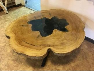 Журнальный стол из спила тополя   - Мебельная фабрика «Массив»