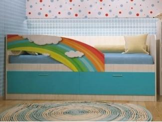 Удобная кровать с фотопечатью Радуга