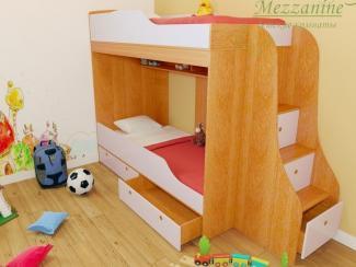 Кровать детская Твинс с лестницей Индиго - Мебельная фабрика «Мезонин мебель»
