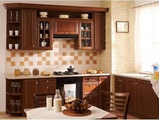 Кухня прямая Азалия орех испанский стиль - Мебельная фабрика «Основа-Мебель», г. Ульяновск