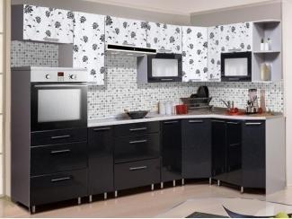 Черно-белая угловая кухня Metrio Д 2.4 - Мебельная фабрика «ИнтерЛиния»