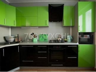 Черно-зеленая угловая кухня  - Мебельная фабрика «700 Кухонь»