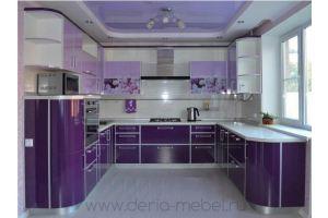 Фиолетовая п-образная кухня - Мебельная фабрика «Дэрия»