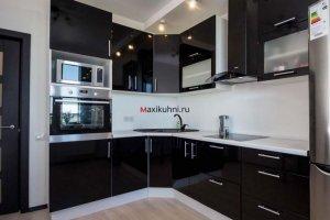 Глянцевая кухня Черный металлик - Мебельная фабрика «MaxiКухни»
