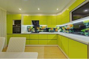 Глянцевая кухня в современном стиле Lemon Drop - Мебельная фабрика «Магия кухни»