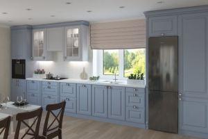 Голубая прямая кухня - Мебельная фабрика «Акварель»
