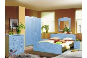 Голубая спальня МДФ Лотос - Мебельная фабрика «Меркурий»