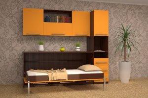 Горизонтальная кровать-трансформер с полками - Мебельная фабрика «Анталь», г. Новосибирск
