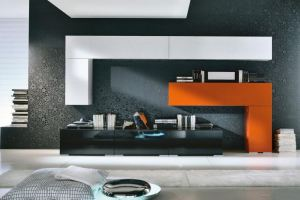 Гостиная 11 черный-белый-оранжевый - Мебельная фабрика «SaEn»
