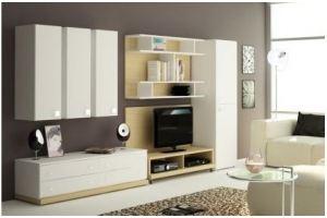 Гостиная белая со стеллажом 003 - Мебельная фабрика «La Ko Sta»