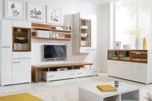 Гостиная цвет белый с деревом - Мебельная фабрика «Мебельная мастерская»