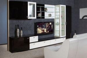 Гостиная  черно-белая Домино - Мебельная фабрика «Астмебель»